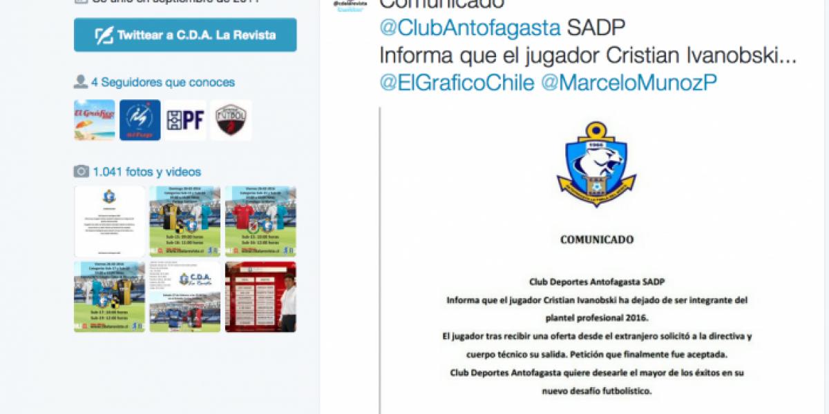 Abandonó el buque: Ivanobski deja Antofagasta en medio del campeonato