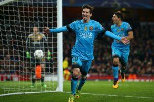 Lionel Messi marcó un doblete al Arsenal en el partido de ida de los octavos de final de la Championes Foto:Getty Images. Imagen Por: