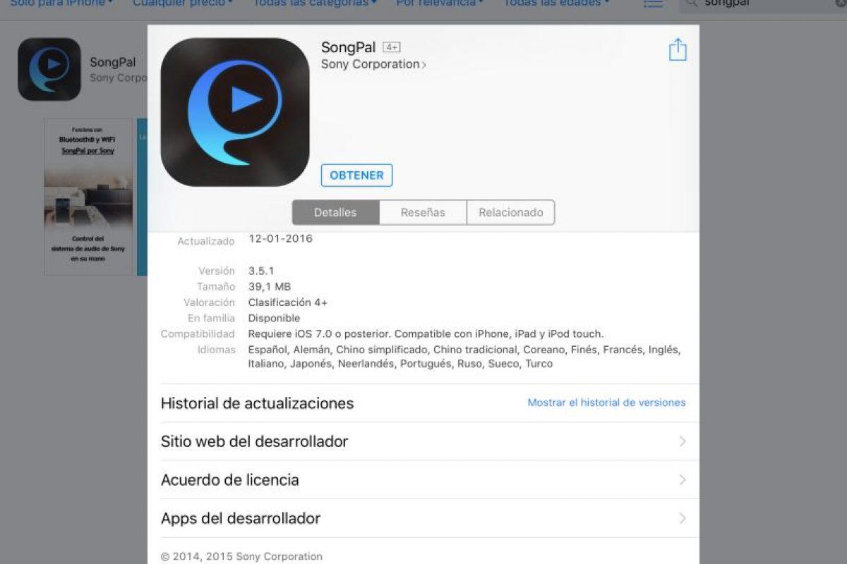 La aplicación que se debe descargar -pero no es compatible con el iPad- para manipular el equipo. Foto:Publimetro / Víctor Jaque. Imagen Por: