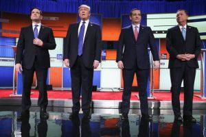 Los precandidatos que se presentaron al debate: Marco Rubio, Donald Trump, Ted Cruz y John Kasich Foto:AP. Imagen Por: