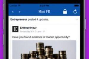 Mini for Facebook es una versión ultra ligera de Facebook, con un bloqueo automático cada vez que sales de la aplicación. Foto:surendra kumar. Imagen Por: