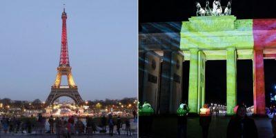 Francia y Alemania iluminan sus monumentos en honor a víctimas de atentados en Bélgica