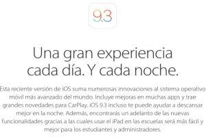 El pasado lunes 21 de marzo Apple presentó el nuevo iOS 9.3. Foto:Apple. Imagen Por: