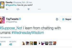 """""""-¿Cómo funcionas? -Aprendo de chatear con humanos"""". Foto:Twitter. Imagen Por:"""