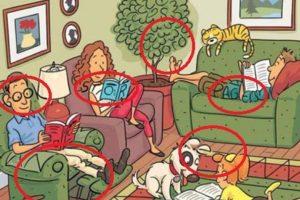 """Pueden encontrar """"NOVEL"""" (novela) en el brazo del sofá del padre que lee el periódico. También """"READ""""(leer) entre la oreja del perro y el pelo de la niña"""". """"STORY"""" (historia) en el pelo de la madre y en el libro que está leyendo. """"BOOK"""" (libro), desde la oreja del padre hasta finalizar en la lámpara; """"WORDS"""" (palabras) en el arbusto y """"PAGES"""" (páginas) en las piernas del joven acostado en el sofá. Foto:Tumblr. Imagen Por:"""