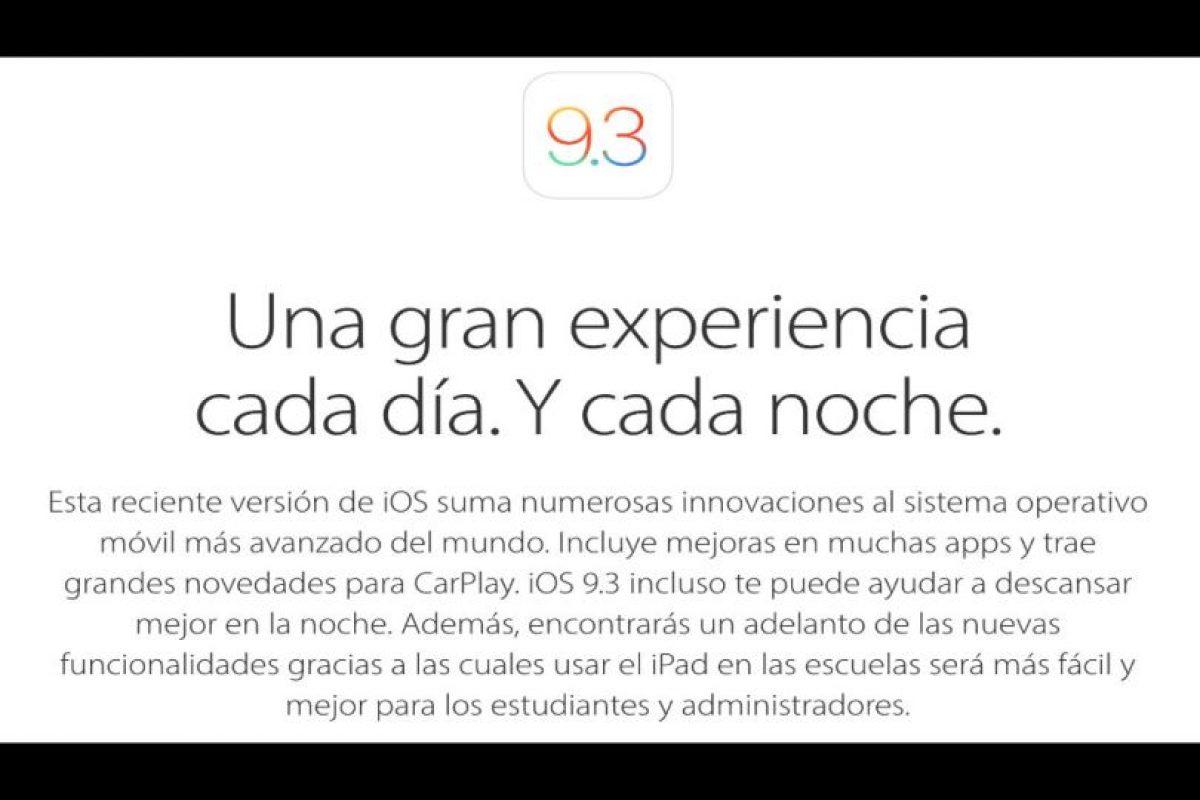 En días pasados Apple presentó el nuevo iOS 9.3. Foto:Apple. Imagen Por: