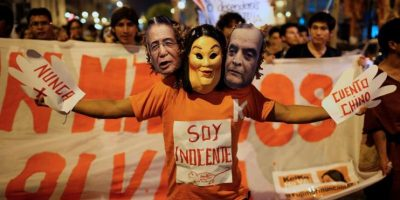 Marcha contra Keiko Fujimori en el aniversario del autogolpe de Estado de su padre