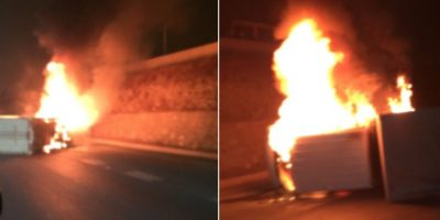 Vehículo se incendia tras volcar en Ruta del Maipo