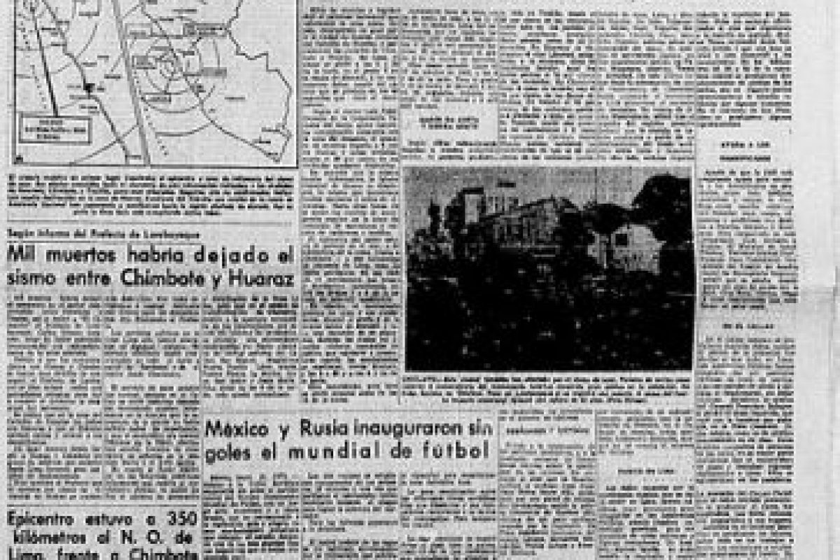 3. 31 de mayo de 1970, Chimbote, Perú: Desapareció por completo la comunidad de Yungay, cuya población era de 20 mil habitantes. Foto:Arkivperu.com. Imagen Por: