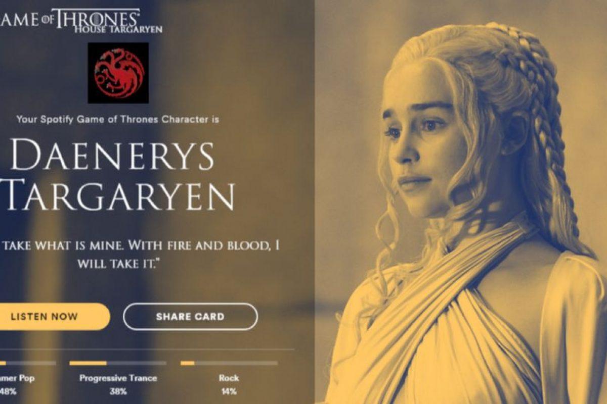 Personaje: Daenerys Targaryen. Foto:Spotify. Imagen Por: