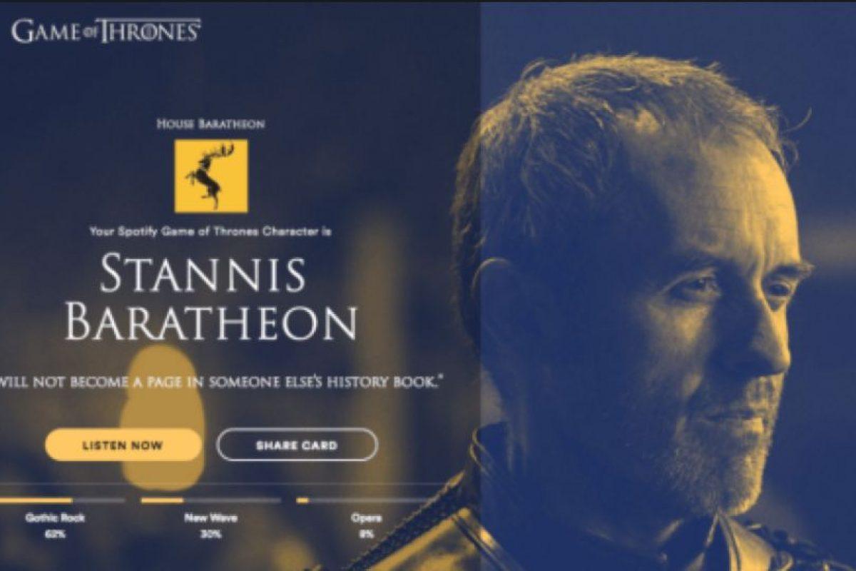 Personaje: Stannis Baratheon. Foto:Spotify. Imagen Por: