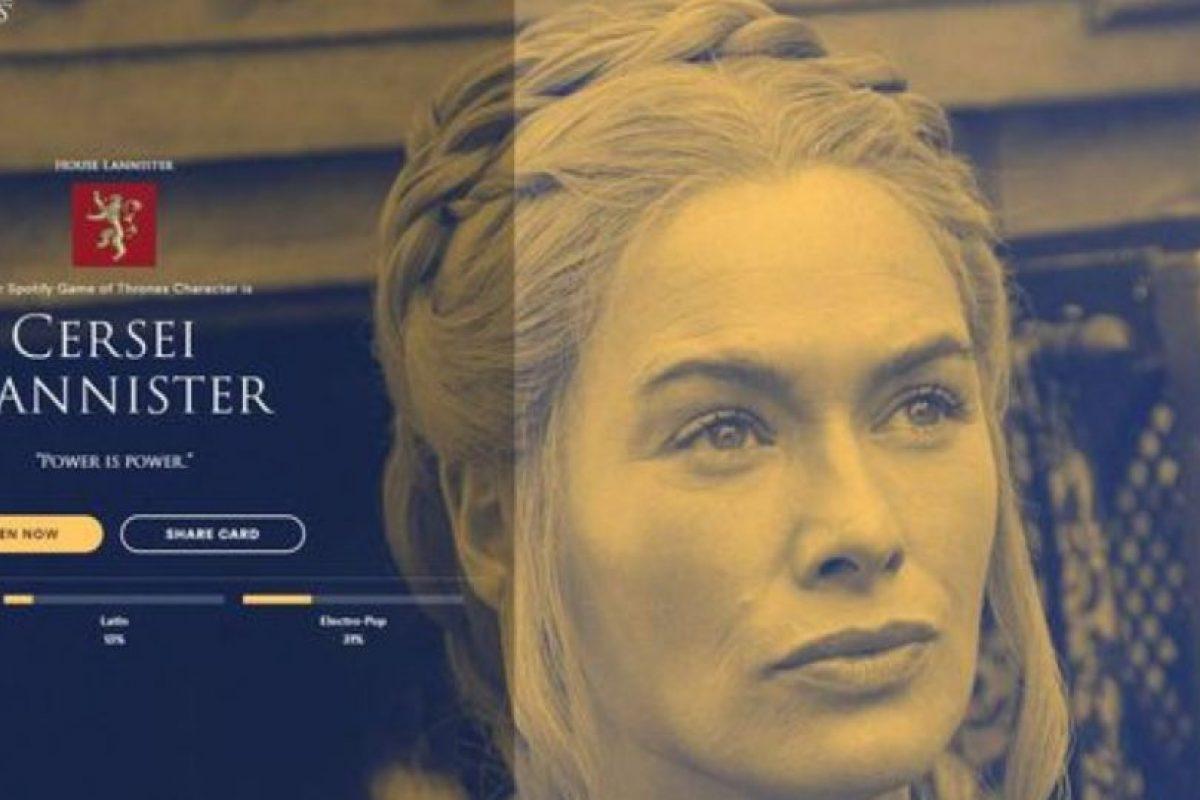 Personaje: Cersei Lannister. Foto:Spotify. Imagen Por: