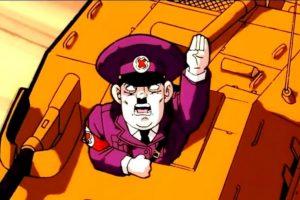 """Hitler aparece en Dragon Ball Z, en la película """"Fusion Reborn"""". Goten y Trunks luchan contra él y su ejército. Este les pregunta que si tienen cabello rubio y ojos azules deberían unirse a sus legiones, pero ellos lo mandan de nuevo al infierno. En países como Alemania es Israel, por obvias razones, la escena fue censurada. Las X fueron en referencia a """"El Gran Dictador"""" de Charles Chaplin Foto:Toei. Imagen Por:"""