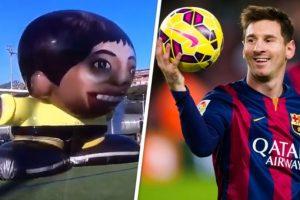 El último reto de Lionel Messi fue ante un portero gigante Foto:Twitter. Imagen Por: