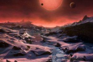 Ilustración de la estrella enana ultrafría TRAPPIST-1 desde la superficie de uno de sus planetas Foto:ESO. Imagen Por: