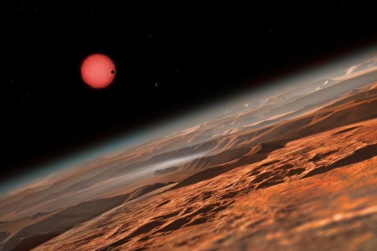Ilustración de la estrella enana ultrafría TRAPPIST-1 desde cerca de uno de sus tres planetas Foto:ESO. Imagen Por: