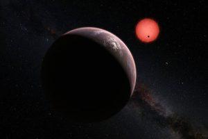 Ilustración de la estrella enana ultrafría TRAPPIST-1 y de sus tres planetas Foto:ESO. Imagen Por: