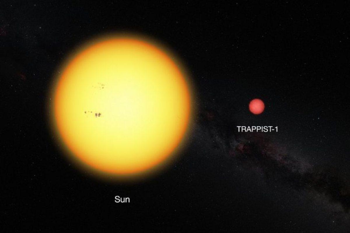 Esta imagen muestra al Sol y a la estrella enana ultrafría TRAPPIST-1 a escala. La débil estrella tiene sólo el 11% del diámetro del sol y su color es mucho más rojo. Foto:ESO. Imagen Por: