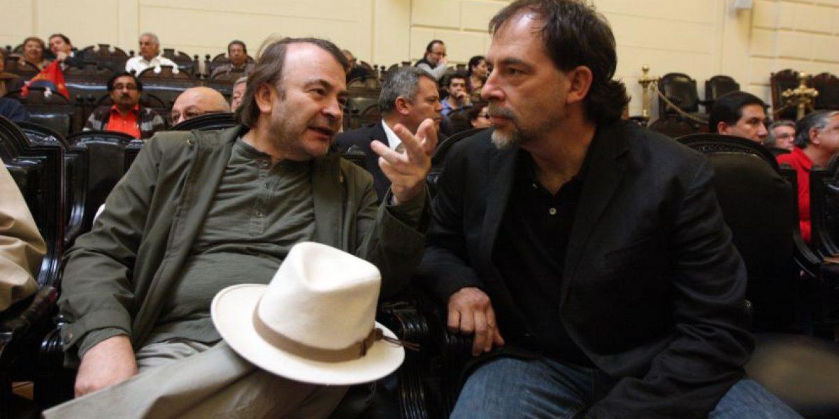 El apretón de manos de Girardi y Pepe Auth durante la gira presidencial
