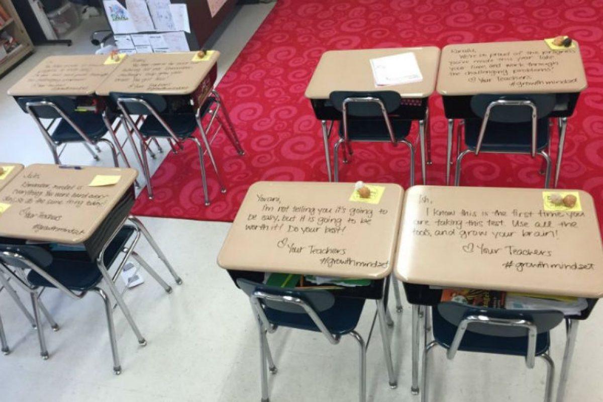 Los mensajes eran para dar un poco de confianza antes de los exámenes PARCC, donde se miden conocimientos matemáticos y de inglés. Foto:Woodbury City Public Schools. Imagen Por: