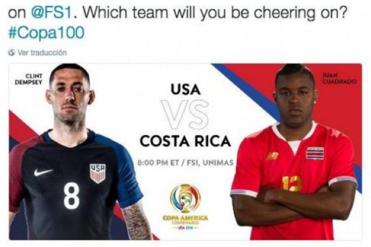 El twitter oficial de la organización promocionó el partido de Estados Unidos con Costa Rica, pero a Joel Campbell, delantero de los Ticos, le pusieron el nombre de Juan Guillermo Cuadrado Foto:Captura de pantalla. Imagen Por: