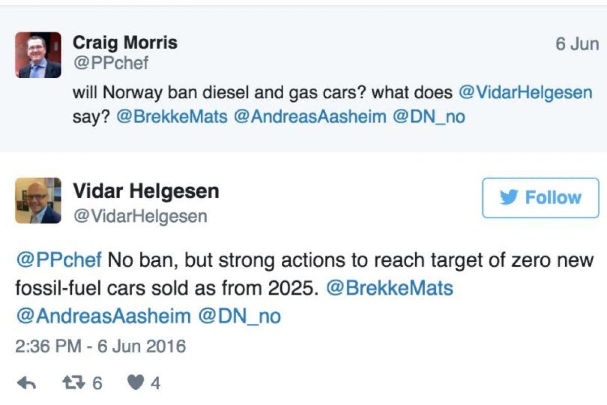 El tuit publicado por el ministro noruego. Imagen Por: