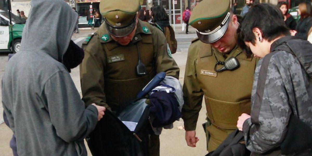 Carabineros detuvo a estudiante de 15 años que portaba ácido muriático en su mochila