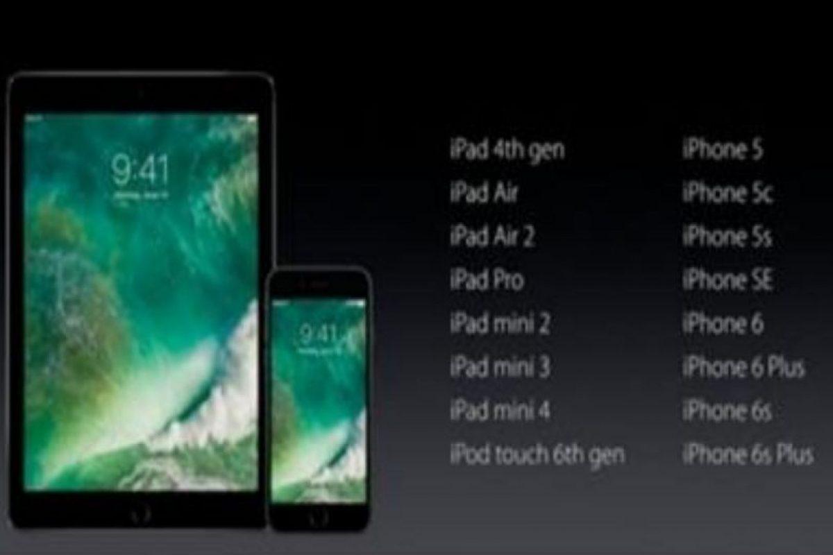 Estos serán los dispositivos compatibles con iOS 10. Foto:Apple. Imagen Por: