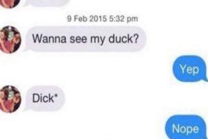 Él: Quieres ver mi pato? Ella: Sí Él: Mi pene* (seguro el autocorrector lo cambió al principio) Ella: Nope Foto:Instagram/byefelipe. Imagen Por: