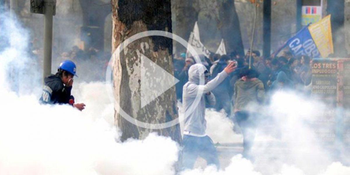 Con incidentes aislados finaliza una nueva marcha estudiantil en Santiago