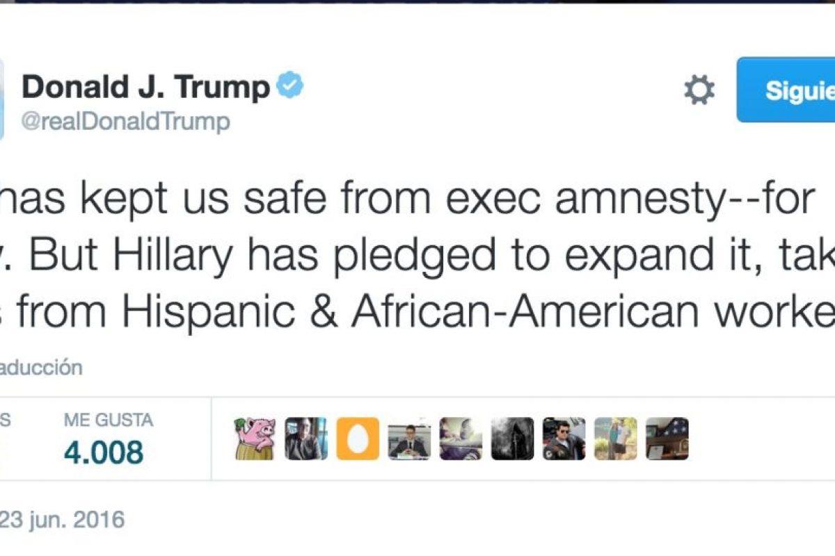 Así reaccionó Donald Trump, precandidato presidencial del Partido Republicano Foto:Twitter.com/RealDonaldTrump. Imagen Por: