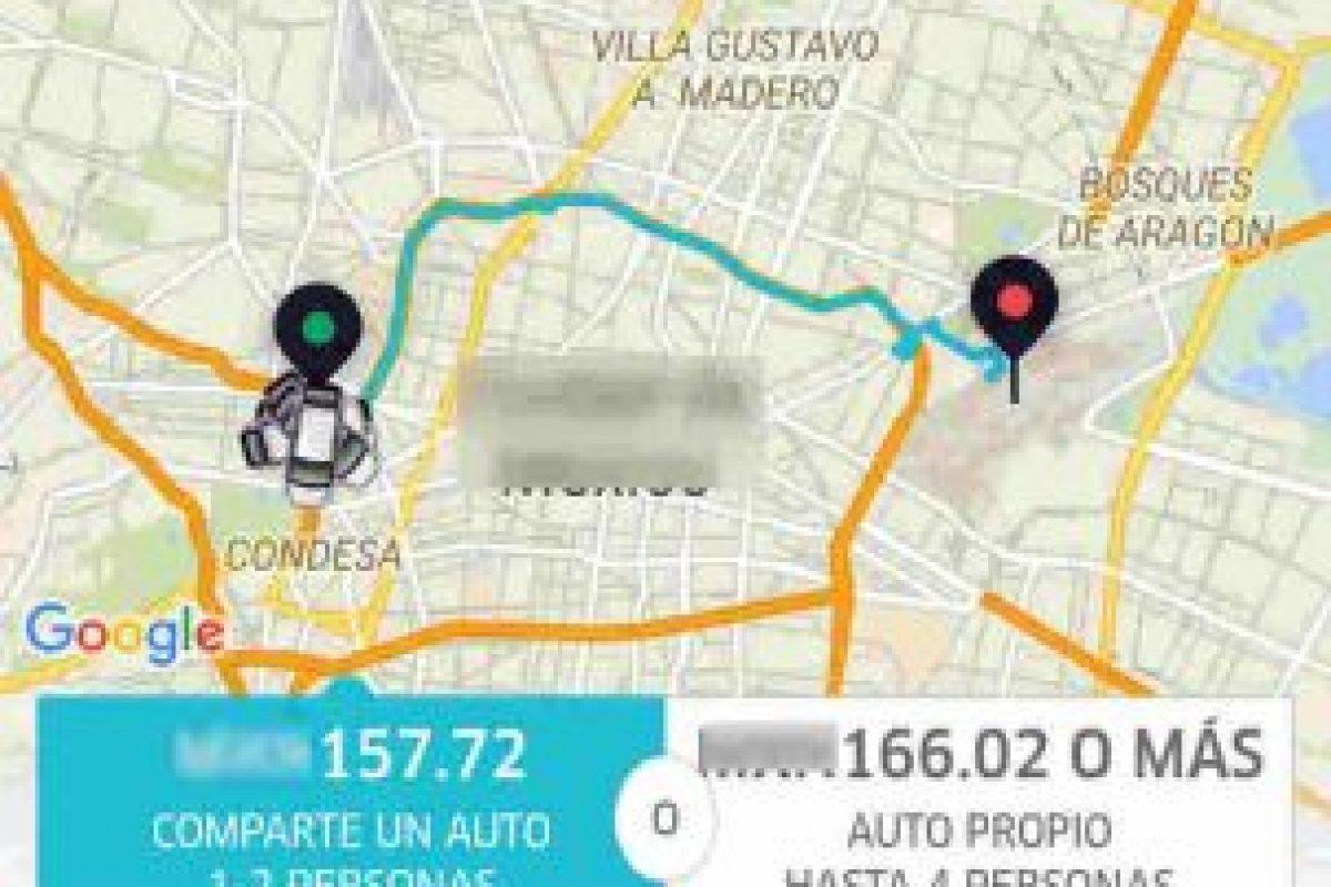 Tarifa de UberPool fija, mientras que en UberX puede ser más de la indicada. Foto:Uber. Imagen Por: