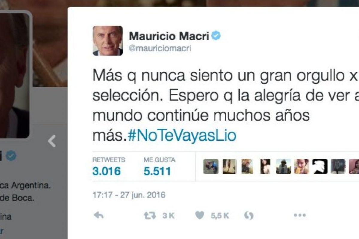 Incluso se sumó Mauricio Macri, presidente de Argentina Foto:Twitter.com. Imagen Por: