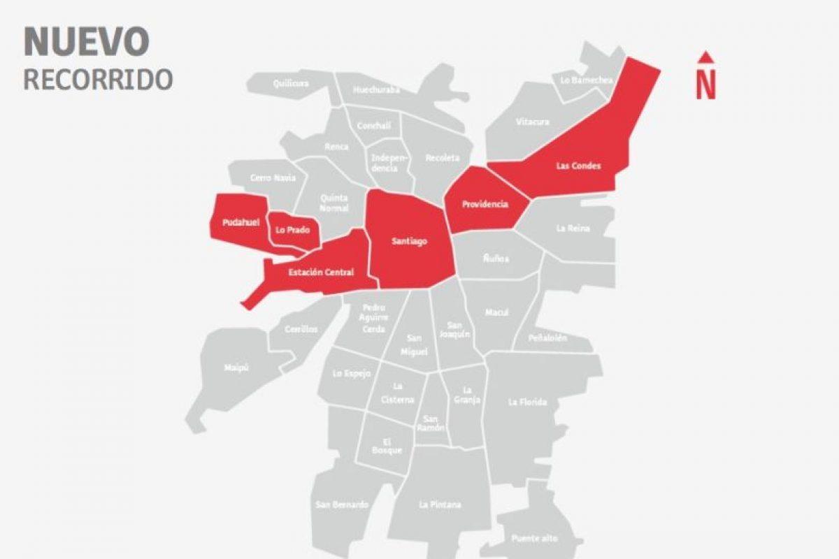 Las comunas por donde se trasladará el nuevo recorrido nocturno 541n. Foto:Dtpm. Imagen Por: