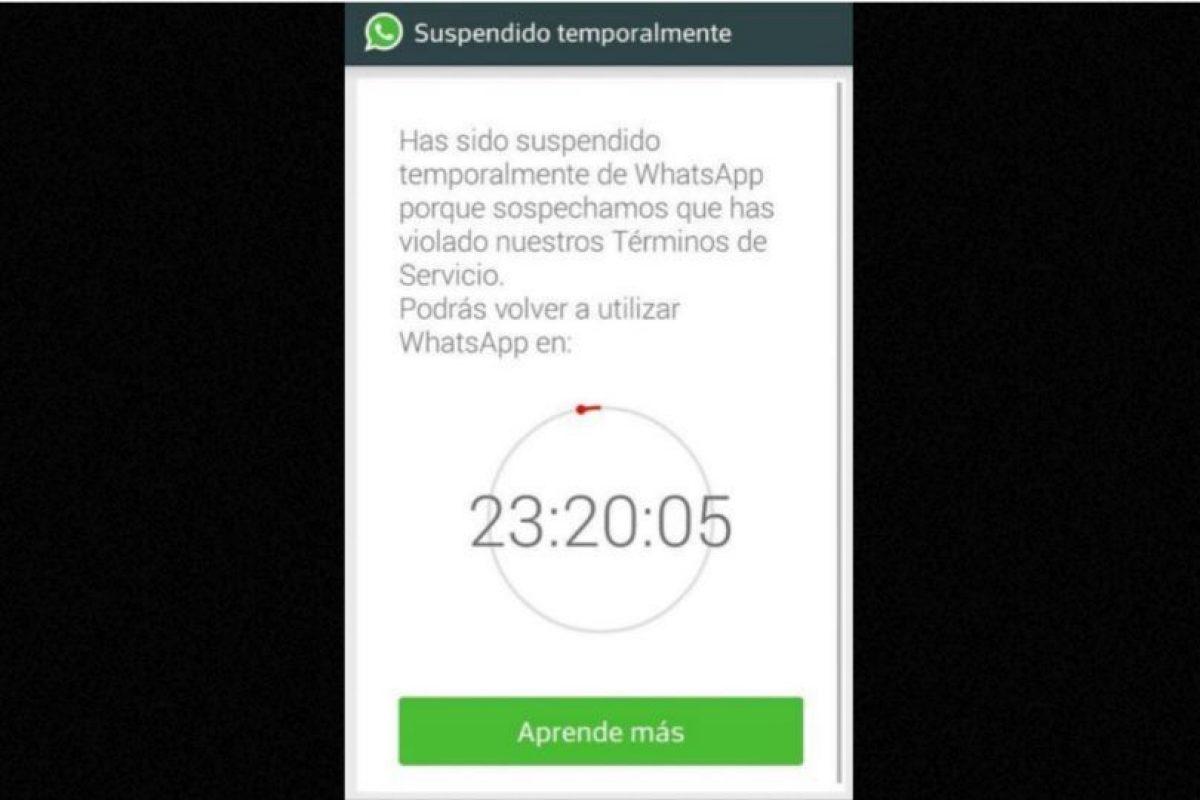 1.- Enviar spam Foto:WhatsApp. Imagen Por: