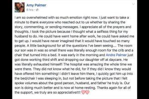 El pequeño de 20 meses de edad sufrió una crisis asmática que lo llevó al Hospital Pediátrico de York, a donde su padre llegó tras terminar su turno nocturno de trabajo en una fábrica. Foto:Facebook Amy Palmer. Imagen Por: