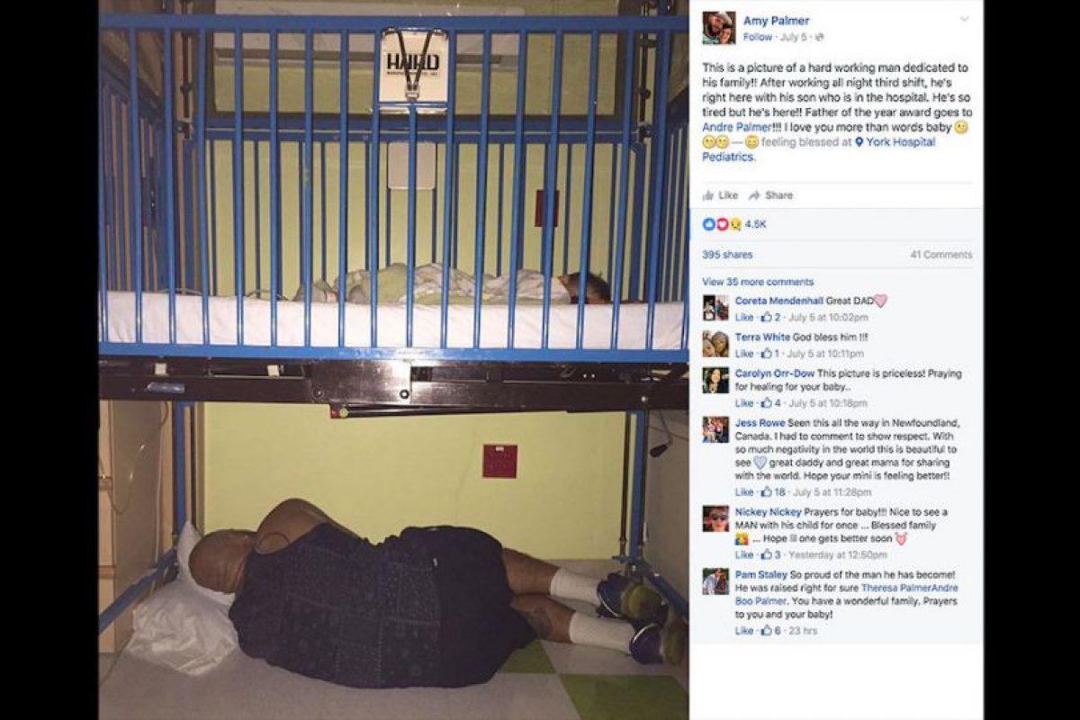 Gracias a esta imagen donde Andre Palmer permanece al pendiente de la salud de su hijo descansando debajo de la cuna de hospital, él y su esposa han recibido decenas de mensajes de apoyo y cariño. Foto:Facebook Amy Palmer. Imagen Por:
