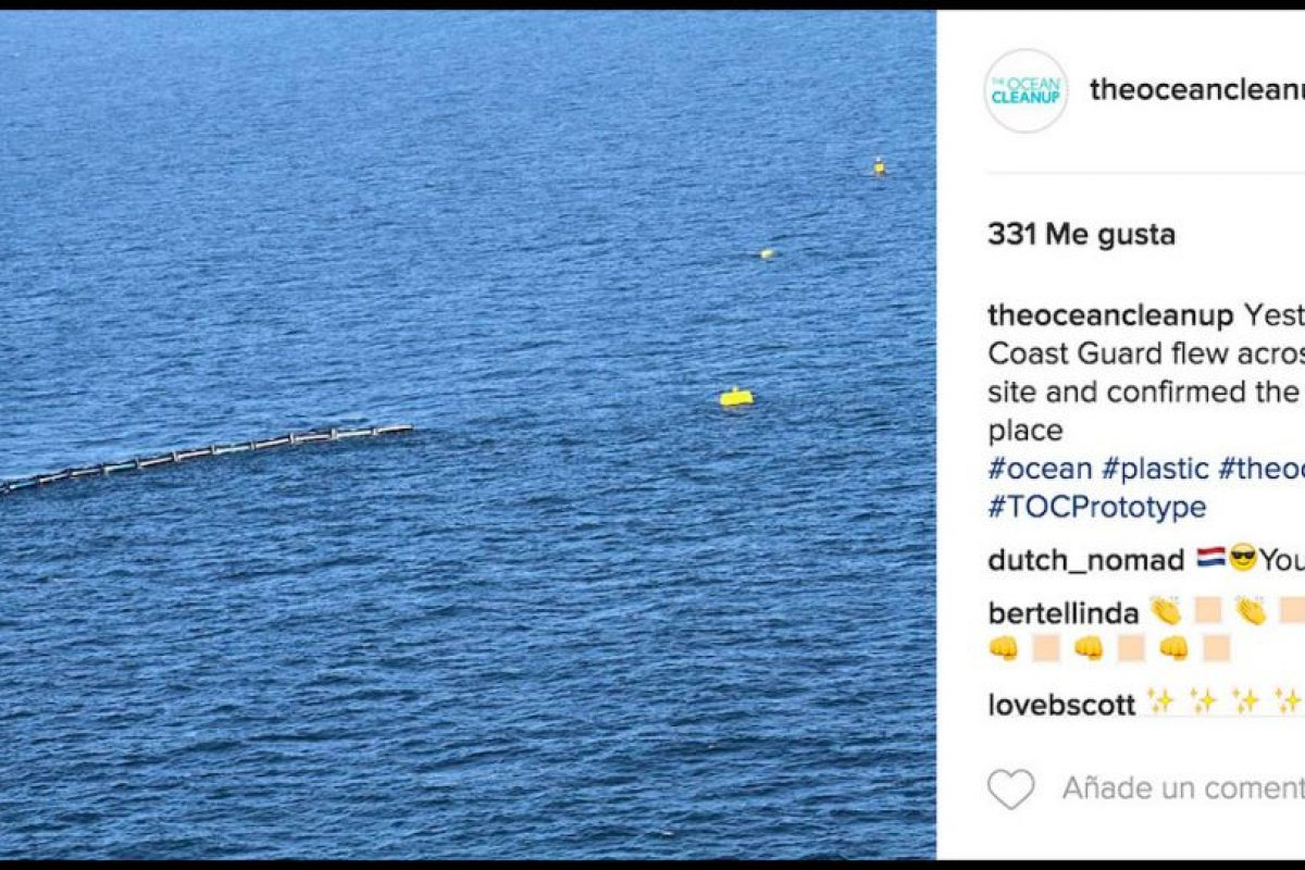 Estos flotantes gigantes se encargarán de limpiar la gran cantidad de basura que flota en el mar. Foto:Instagram theoceancleanup. Imagen Por: