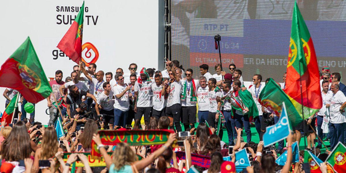 Cristiano Ronaldo lideró los festejos en Lisboa con su tradicional grito de guerra