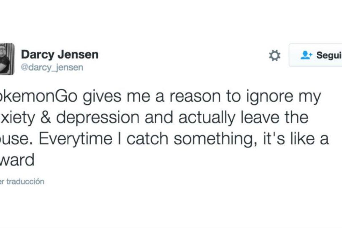 """""""Pokémon Go me da una razón para ignorar mi ansiedad y depresión y salir de mi casa. Cada que atrapo algo, es como una recompensa"""". Foto:Twitter. Imagen Por:"""