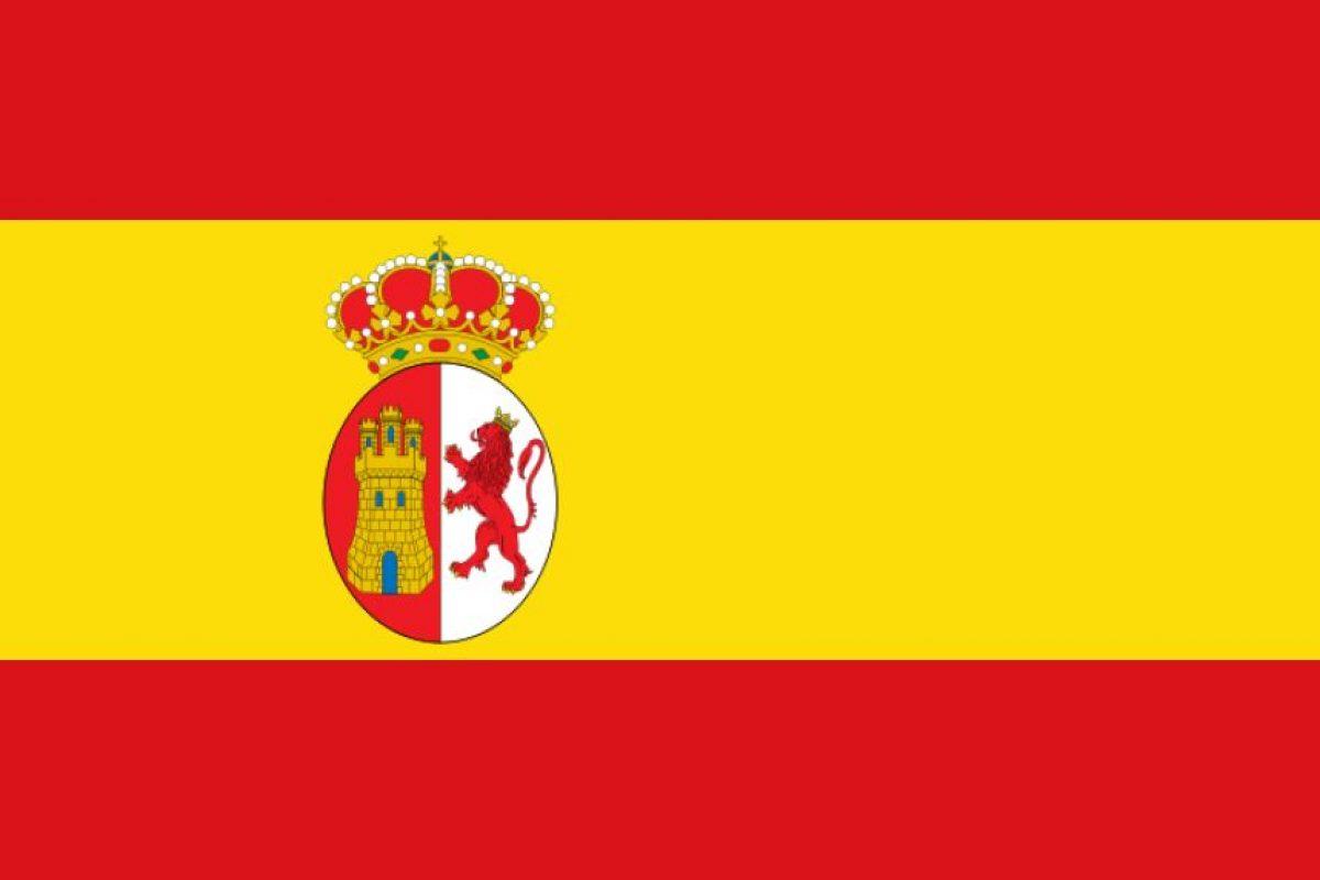 1. Bandera monárquica española, usada entre 1810 y 1812 tras el surgimiento de los primeros cabildos.. Imagen Por: