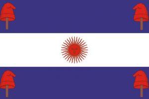 5. En medio de la lucha entre federales y unitarios, el color azul pasa ser casi turquesa y se suman gorros y el sol pasa a ser rojo.. Imagen Por: