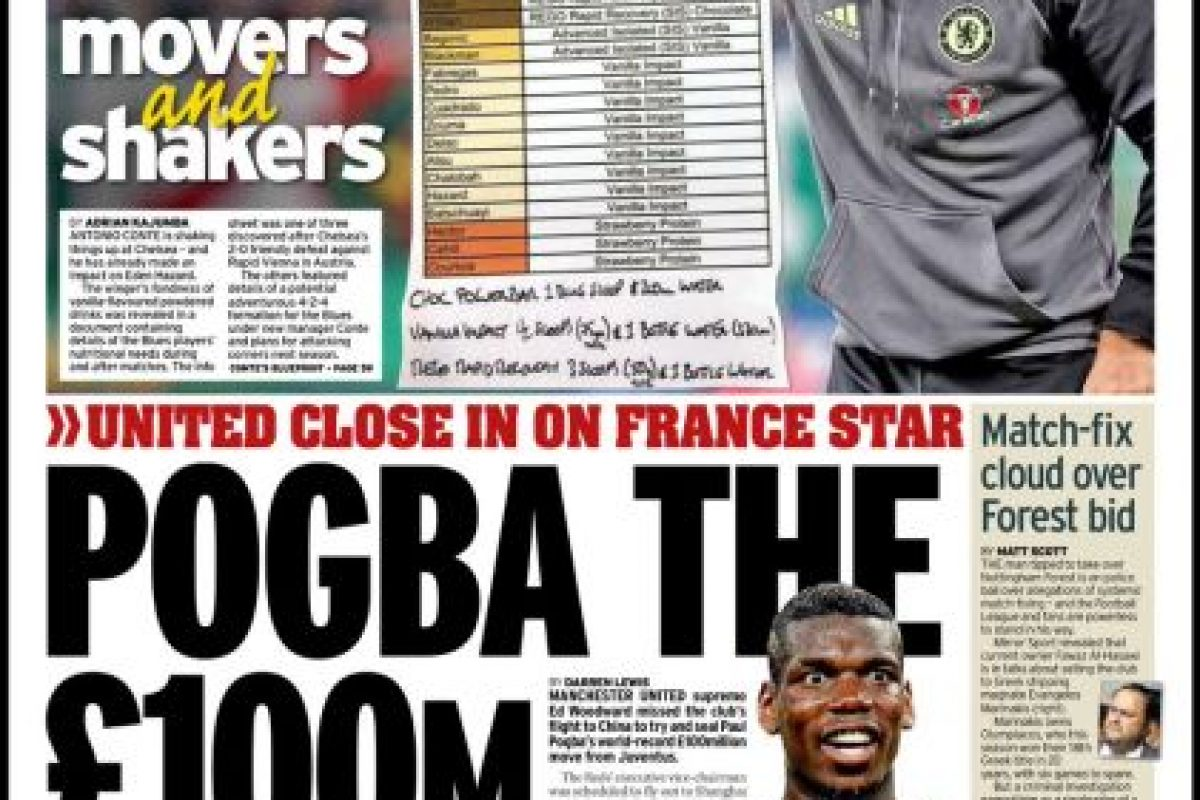En Inglaterra también destacaron la reunión del agente de Pogba con los dirigentes del United Foto:Daily Mirror. Imagen Por: