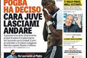 La oferta del United por Pogba se tomó los medios europeos Foto:La Gazzetta dello Sport. Imagen Por: