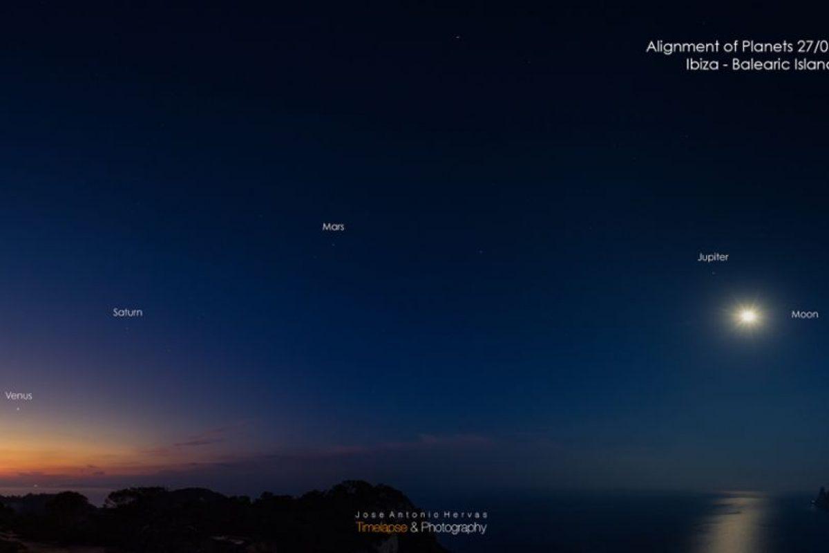 Fotografía tomada en enero de 2016, en Ibiza, España. Así se podían observar los cinco planetas. Foto:NASA.gov. Imagen Por: