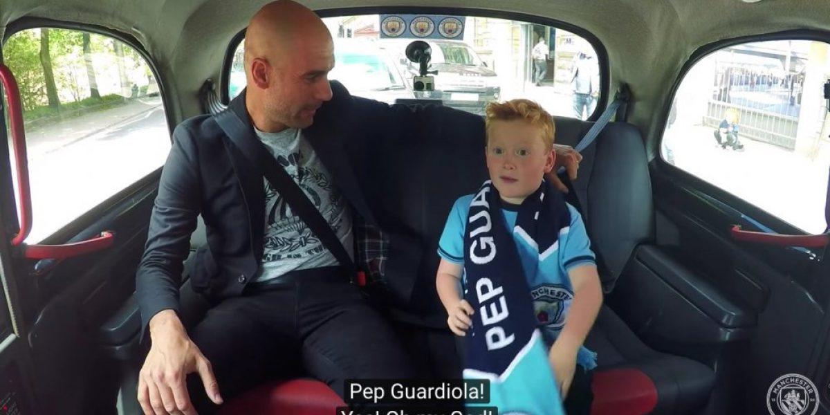 La tremenda emoción de un niño al conocer a Pep Guardiola a bordo de un taxi