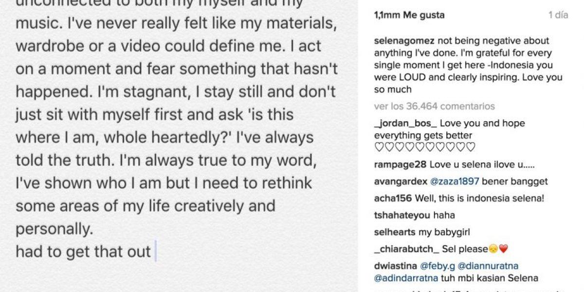 ¿Selena Gómez piensa en el retiro?: Cantante publicó extraño mensaje en Instagram