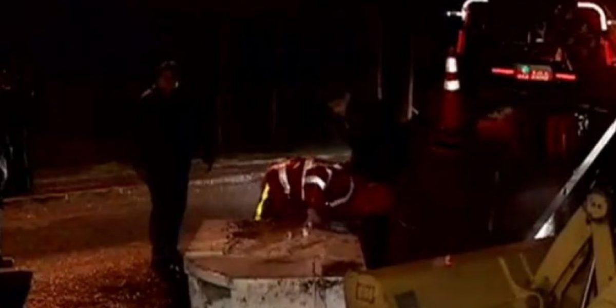 Con una retroexcavadora sujetos intentaron robar cajero automático desde banco