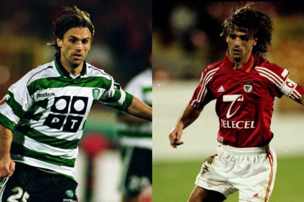 Joao Pinto se transformó en un emblema de Benfica en los ocho años que vistió la camiseta e, incluso, se ganó el derecho a portar la jineta de capitán, pero en 2000 se fue al archirrival: Sporting CP Foto:Getty Images. Imagen Por: