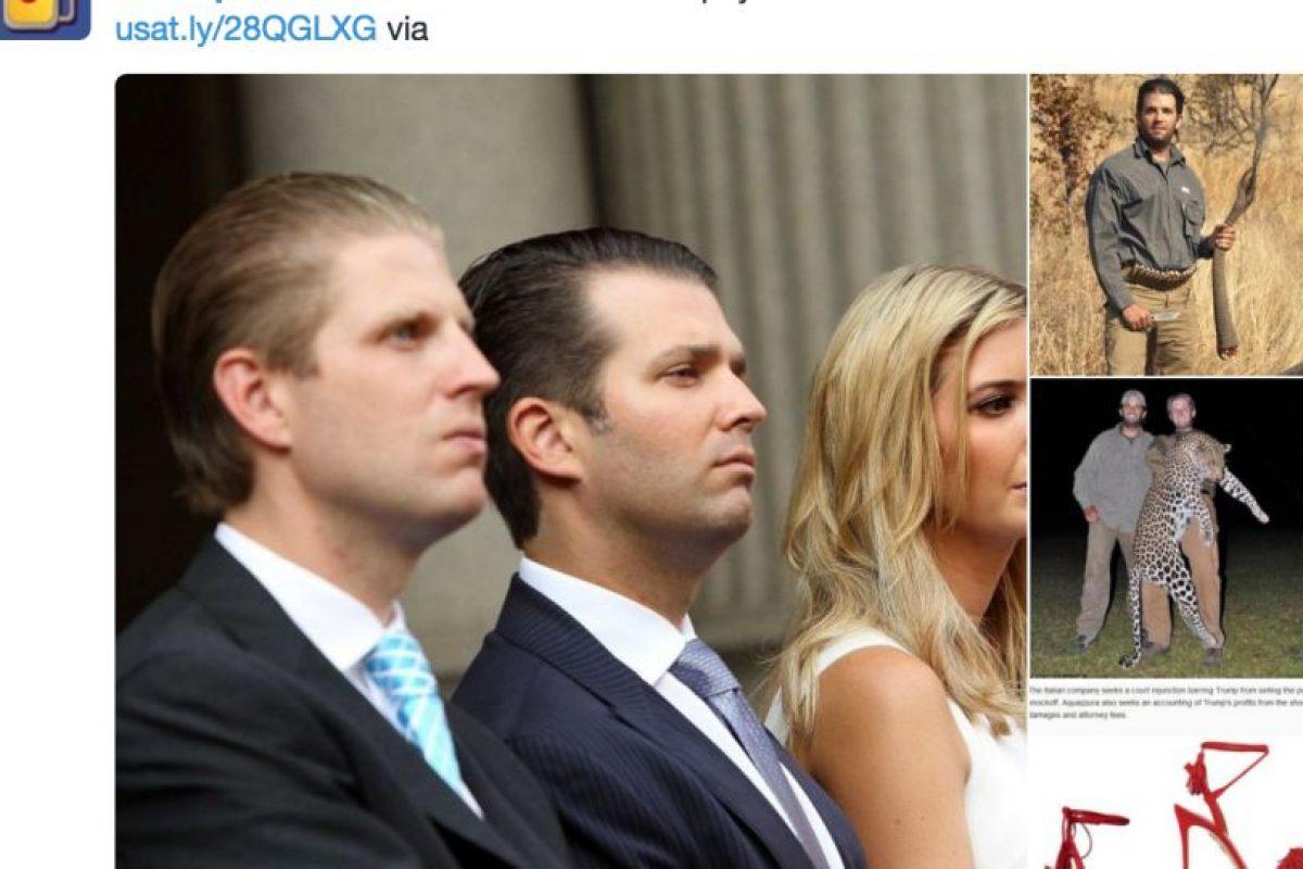 A Trump lo critican por sus hijos también: porque van a cazar y porque Ivanka tiene cuestionables manejos con las copias que hace su firma. Foto:Twitter. Imagen Por: